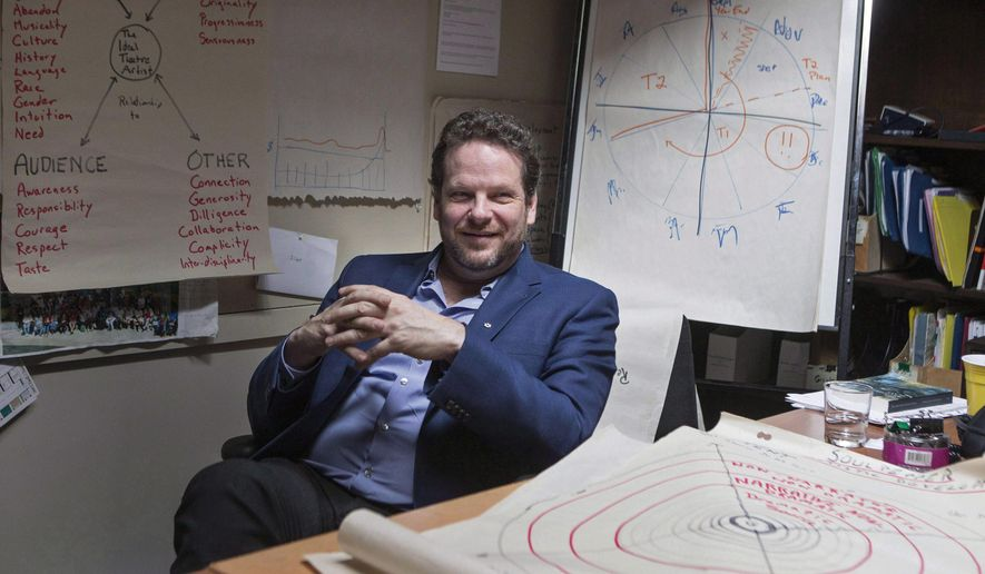 In this March 20, 2017 photo, Soulpepper Theatre Company Artistic Director Albert Schultz sits in his office at the Young Centre for the Performing Arts in Toronto, Canada.    The prominent figure in the Canadian theater world and the company he founded are facing four separate lawsuits alleging sexual assault and harassment, according to Toronto lawyer Alexi Wood on Wednesday, Dec. 3, 2018. (Chris Young/The Canadian Press via AP)
