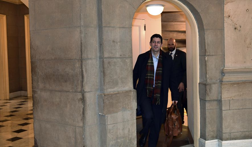 House Speaker Paul Ryan of Wis., walks up a flight of stairs as he arrives at his office on Capitol Hill in Washington, Wednesday, Jan. 3, 2018. Ryan is meeting with White House Budget Director Mick Mulvaney and Legislative Director Marc Short and Republican and Democratic leaders of Congress. (AP Photo/Susan Walsh)