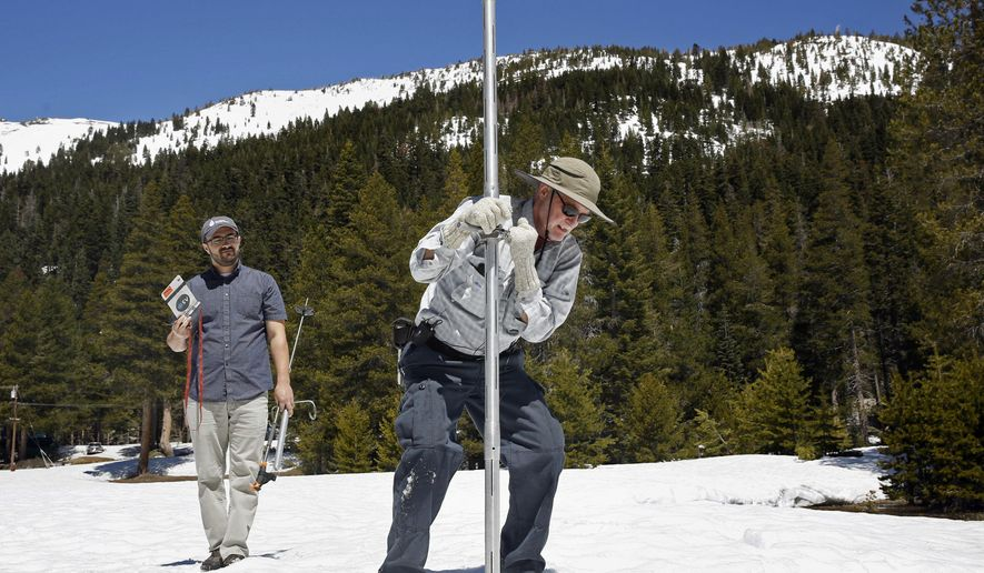 File - In this May 1, 2017 file photo, Frank Gehrke, chief of the California Cooperative Snow Surveys Program for the Department of Water Resources, right, plunges the snow survey tube into the snow pack, as DWR's Wes McCandless looks on during the snow survey at Phillips Station near Echo Summit, Calif. California's water managers are saying it's too early yet for fears that the state is sliding back into its historic five-year drought. Water officials carry out the first of their routine seasonal snow surveys in the Sierras on Wednesday, Jan. 3, 2018. (AP Photo/Rich Pedroncelli, File)