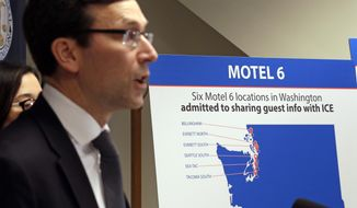 Washington state Attorney General Bob Ferguson addresses a news conference Wednesday, Jan. 3, 2018, in Seattle, announcing that his office is suing Motel 6. Ferguson said that the budget hotel disclosed the personal information of thousands of guests to federal immigration authorities in violation of state law. He said the motel divulged to the U.S. Immigration and Customs Enforcement the names, dates of birth, license plate numbers and room numbers of more than 9,000 guests at six locations throughout the state, violating the state's consumer protection law thousands of times by violating the privacy of its guests. (AP Photo/Elaine Thompson)