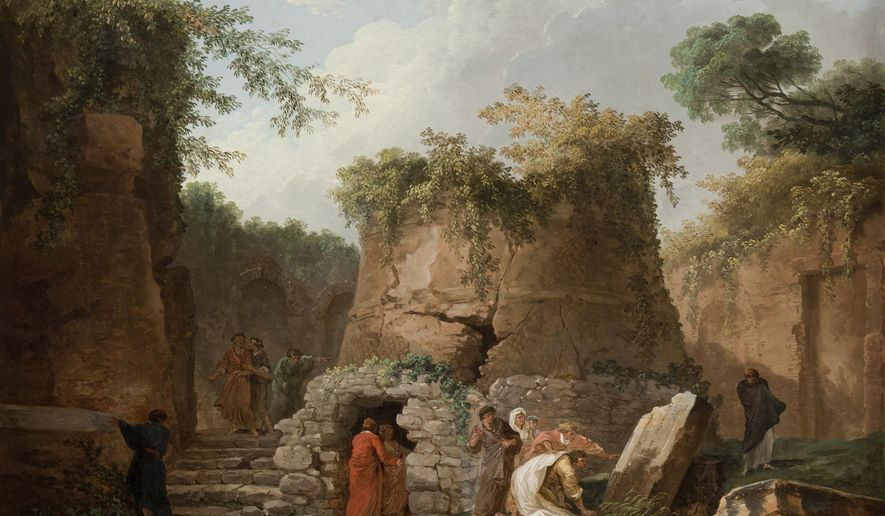 "This undated image provided by the La Salle University Art Museum in Philadelphia shows a 1784 oil-on-canvas work by French painter Hubert Robert titled ""The Tomb of Virgil at Posilipo, near Naples."" The painting is one of 46 artworks that La Salle University in Philadelphia announced Tuesday, Jan. 2, 2018, it will sell through Christie's auction house to help fund the Roman Catholic university's five-year plan. A university spokeswoman says the sale, tentatively set to begin in March 2018, could bring between $4 million and $7 million, and possibly much more. (Jack Ramsdale/La Salle University Art Museum via AP)"