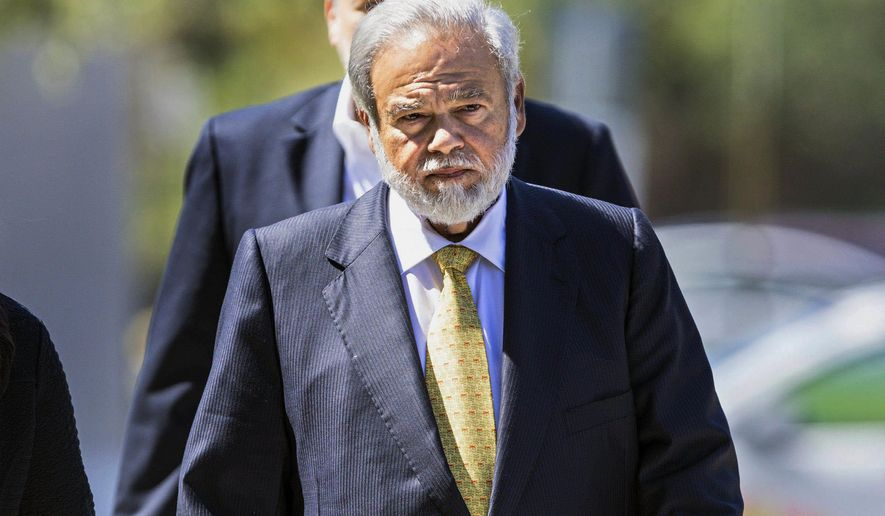 FILE - In this April 28, 2017 file photo, Dr. Salomon Melgen arrives at the federal courthouse in West Palm Beach, Fla. The politically prominent Florida eye doctor could get 30 years in prison or more for stealing $100 million in one of history's largest Medicare frauds. A sentencing hearing for Dr. Melgen resumes Wednesday, Jan. 3, 2018, after a four-week hiatus. (Lannis Water/Palm Beach Post via AP, File)
