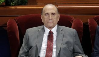 This April 1, 2017, file photo shows Thomas M. Monson, president of the Church of Jesus Christ of Latter-day Saints, at the two-day Mormon church conference in Salt Lake City. Monson, the 16th president of the Mormon church, has died after nine years in office. He was 90. (AP Photo/Rick Bowmer, File)