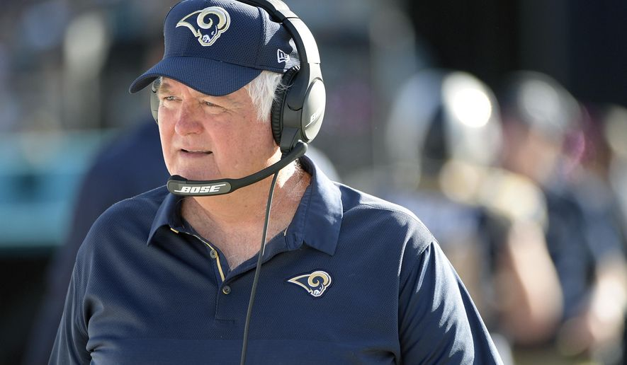 FILE - In this Sunday, Oct. 15, 2017 file photo, Los Angeles Rams defensive coordinator Wade Phillips watches from the sideline during the first half of an NFL football game against the Jacksonville Jaguars in Jacksonville, Fla. Wade Phillips is in the NFL playoffs for the 20th time, and the Rams' 70-year-old defensive coordinator shows zero signs of slowing down. He has another intimidating group in Los Angeles heading into a visit from Atlanta on Saturday, Jan. 6, 2018, one of the many franchises where Phillips used to coach.(AP Photo/Phelan M. Ebenhack, File)