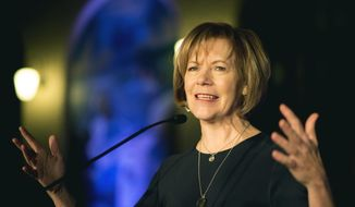 In this Jan. 10, 2015, file photo, then-Minnesota Lt. Gov. Tina Smith speaks in St. Paul, Minn. Tina Smith, who was appointed to replace Al Franken following his resignation over accusations of sexual misconduct was sworn in on Jan. 3, 2018. (Aaron Lavinsky /Star Tribune via AP, File) **FILE**