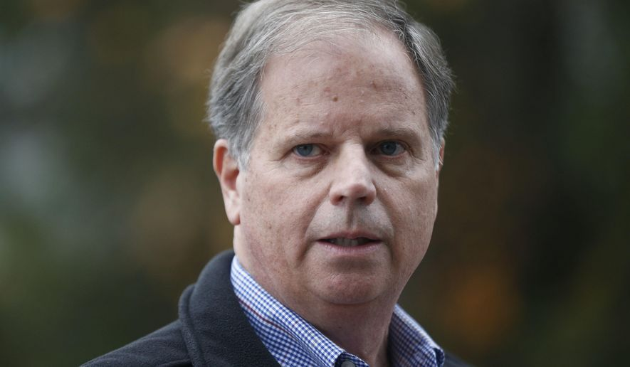 FILE - In this Dec. 4, 2017, file photo, then-Democratic senatorial candidate Doug Jones speaks at a news conference in Dolomite, Ala. Jones, the first Alabama Democrat elected to the Senate in a quarter century, is one of two new members who will take the oath of office on the Senate floor at noon on Jan. 3, 2018. (AP Photo/Brynn Anderson, File)
