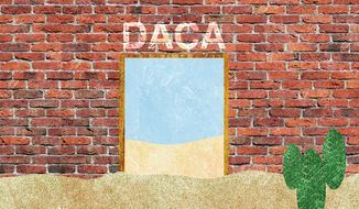 Illustration on the contradiction between promises of border security and leaving DACA intact by Alexander Hunter/The Washington Times