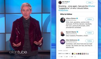 "Daytime talk show host Ellen DeGeneres on Thursday roasted President Trump's son Eric for suggesting that she's part of a ""deep state"" conspiracy. (YouTube/@TheEllenShow)"