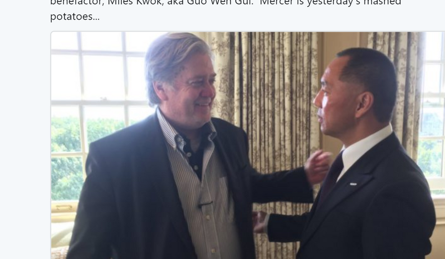 "Tweet from Matt Drudge: ""Steve Bannon finding opportunity and happiness in the arms of a new billionaire benefactor, Miles Kwok, aka Guo Wen Gui. Mercer is yesterday's mashed potatoes..."""