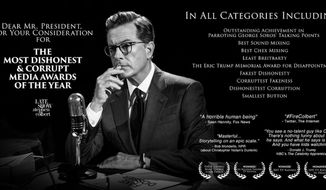 """Late-night CBS host Stephen Colbert is """"so excited"""" for President Trump's upcoming fake news media awards that he bought a """"for your consideration"""" billboard in Manhattan's Times Square. (Twitter/@StephenAtHome)"""