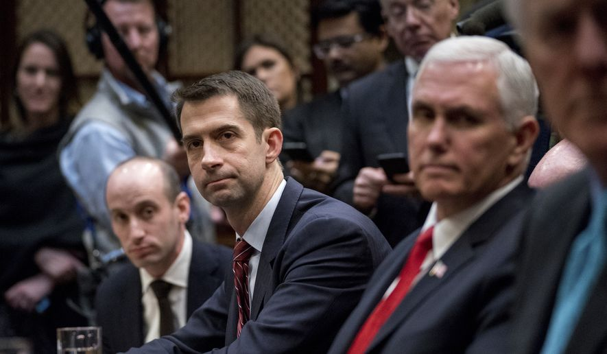 From left, President Donald Trump's White House Senior Adviser Stephen Miller, Sen. Tom Cotton, R-Ark., and Vice President Mike Pence, attend a meeting with President Donald Trump on immigration in the Roosevelt Room at the White House, Thursday, Jan. 4, 2018, in Washington. (AP Photo/Andrew Harnik) ** FILE **