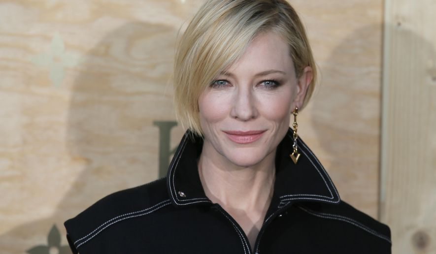 FILE - In this April 11, 2017 file photo, actress Cate Blanchett poses during a photocall ahead of a diner for the launch of a Louis Vuitton leather goods collection in collaboration with US artist Jeff Koons, at the Louvre Museum, in Paris. Australian actress and anti-sexual harassment campaigner Cate Blanchett will head this year's Cannes film festival jury, organizers said Thursday Jan.4, 2017. (AP Photo/Francois Mori, File)