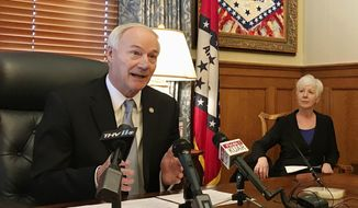 In this file photo, Arkansas Gov. Asa Hutchinson speaks to reporters at the state Capitol in Little Rock, Ark., on Thursday, Jan. 4, 2018. (AP Photo/Andrew DeMillo)