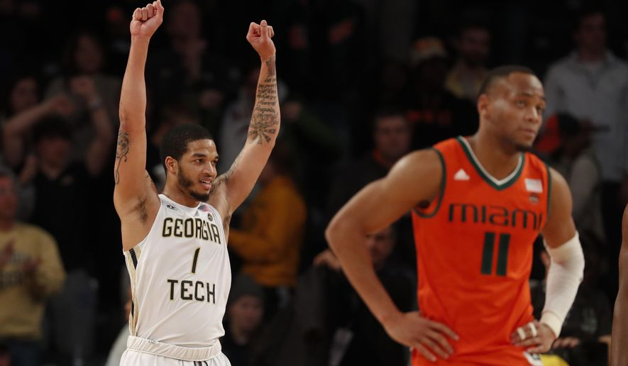 Georgia Tech guard Tadric Jackson (1) reacts as Miami guard Bruce Brown Jr. (11) walks away in the second half of an NCAA college basketball game Wednesday, Jan. 3, 2018, in Atlanta. Georgia Tech won 64-54. (AP Photo/John Bazemore)
