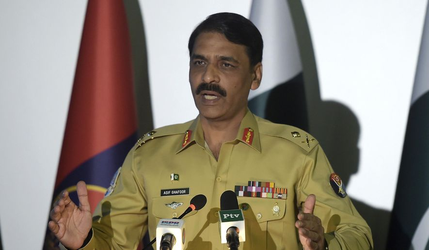 Pakistan's army spokesman Maj. Gen. Asif Ghafoor addresses a news conference in Rawalpindi, Pakistan. (AP Photo/Anjum Naveed)