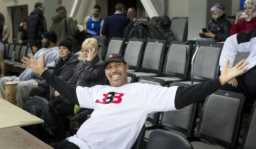 The father of American basketball players LiAngelo and LaMelo,  LaVar Ball attends during the training session at the BC Prienai-Birstonas Vytautas arena in Prienai, Lithuania, Friday, Jan. 5, 2018. LiAngelo Ball and LaMelo Ball have signed a one-year contract to play for Lithuanian professional basketball club Prienai - Birstonas Vytautas, in the southern Lithuania town of Prienai, some 110 km (68 miles) from the Lithuanian capital Vilnius.(AP Photo/Mindaugas Kulbis)