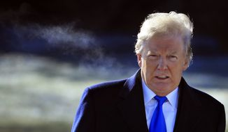 President Donald Trump walks on the South Lawn as he leaves the White House in Washington, Friday, Jan. 5, 2018, enroute to Camp David, Md., for the congressional Republican leadership retreat. (AP Photo/Manuel Balce Ceneta)