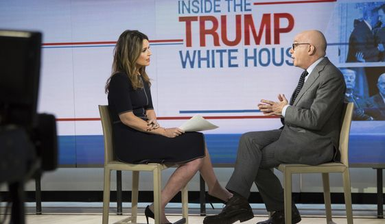 """This photo provided by NBC shows Savannah Guthrie interviewing Michael Wolff on the """"Today Show""""  in New York, Friday, Jan. 5, 2018.   Wolff, author of """"Fire and Fury: Inside the Trump White House,"""" defended his reporting and saying the president's efforts to halt publication have been good for sales.  (Nathan Congleton/NBC Universal via AP)"""