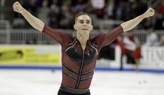 Adam Rippon performs during the men's short program at the U.S. Figure Skating Championships in San Jose, Calif., Thursday, Jan. 4, 2018. (AP Photo/Marcio Jose Sanchez) ** FILE **
