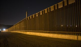 This March 30, 2017, photo shows a portion of the new steel border fence that stretches along the US-Mexico border in Sunland Park, N.M. The Trump administration has proposed spending $18 billion over 10 years to significantly extend the border wall with Mexico. The plan provides one of the most detailed blueprints of how the president hopes to carry out a signature campaign pledge. (AP Photo/Rodrigo Abd) **FILE**