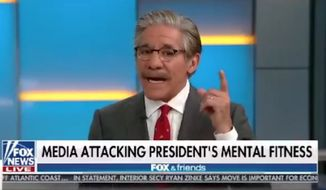 "Geraldo Rivera fiercely defended President Trump against accusations of mental incompetency Friday morning, saying the president has never been more capable and ""intellectually in charge of himself"" than he is now. (Fox News)"