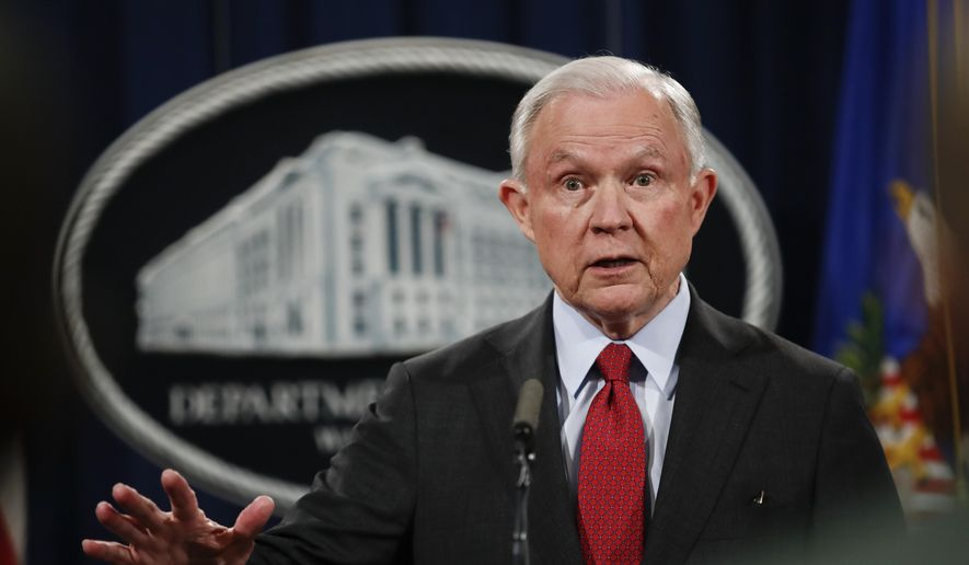 In this Dec. 15, 2017, photo, Attorney General Jeff Sessions speaks during a news conference at the Justice Department in Washington. (AP Photo/Carolyn Kaster) ** FILE **