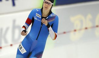 Roxane Dufter of Germany finishes the women's 500m race during the European Speed Skating Championship, at the Speed Skating Centre in Kolomna, Russia, Friday, Jan. 5, 2018. (AP Photo/Pavel Golovkin)