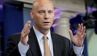 In this July 19, 2017, file photo, White House Director of Legislative Affairs Marc Short talks to the media during the daily press briefing at the White House in Washington. (AP Photo/Andrew Harnik, File)