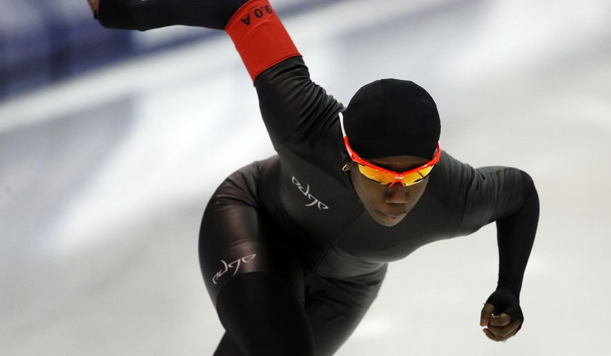 Erin Jackson competes in the women's 500 meters during the U.S. Olympic long track speedskating trials, Friday, Jan. 5, 2018, in Milwaukee. (AP Photo/John Locher)