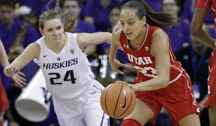 Utah's Daneesha Provo, right, dribbles past Washington's Jenna Moser during the second half of an NCAA college basketball game Friday, Jan. 5, 2018, in Seattle. Provo led Utah with 20 points as they Utah 74-65. (AP Photo/Elaine Thompson)