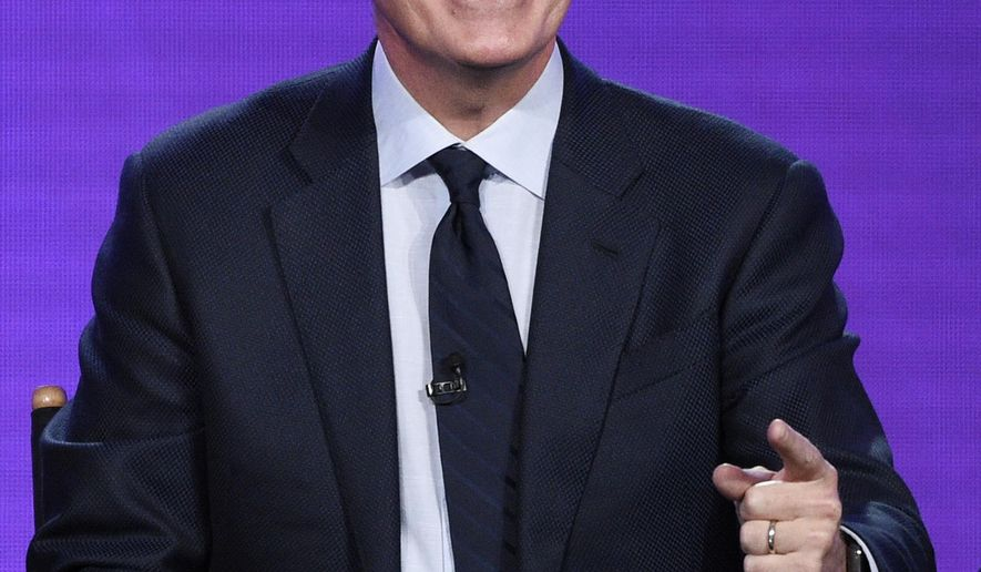 """Stephen Colbert, executive producer of the Showtime animated series """"Our Cartoon President,"""" takes part in a panel discussion on the show at the Television Critics Association Winter Press Tour on Saturday, Jan. 6, 2018, in Pasadena, Calif. (Photo by Chris Pizzello/Invision/AP)"""