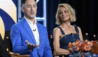 """Alan Cumming, left, executive producer and star of the new CBS series """"Instinct."""" takes part in a panel discussion on the series with fellow cast member Bojana Novakovic at the Television Critics Association Winter Press Tour on Saturday, Jan. 6, 2018, in Pasadena, Calif. (Photo by Chris Pizzello/Invision/AP)"""