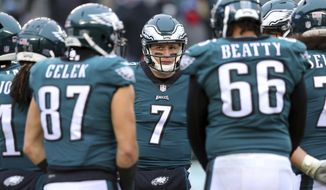 Philadelphia Eagles quarterback Nate Sudfeld (7) in action against the Dallas Cowboys during an NFL game at Lincoln Financial Field in Philadelphia on Sunday, Dec. 31, 2017. (AP Photo/Brad Penner)