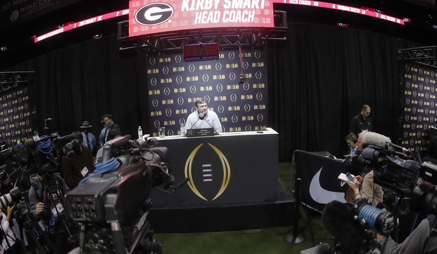 Georgia head coach Kirby Smart speaks during media day, Saturday, Jan. 6, 2018, in Atlanta. Georgia and Alabama will be playing for the NCAA football national championship on Monday, Jan. 8. (AP Photo/John Bazemore)