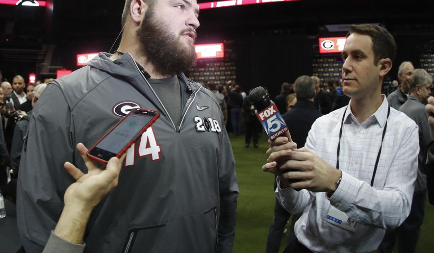 Georgia offensive lineman Ben Cleveland speaks to the media during media day, Saturday, Jan. 6, 2018, in Atlanta. Georgia and Alabama will be playing for the NCAA football national championship on Monday, Jan. 8. (AP Photo/John Bazemore)