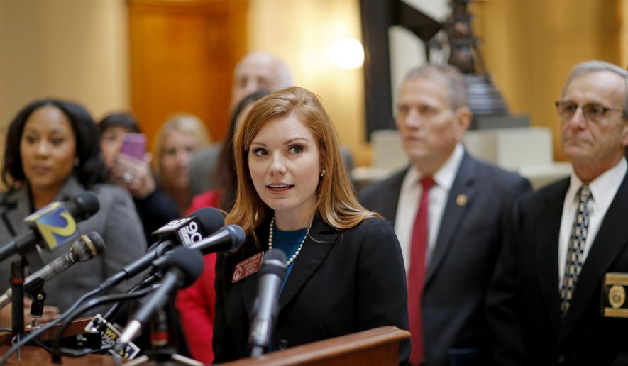 Rep. Meagan Hanson, R - Brookhaven, speaks at a press conference at the state Capitol on a hate crime bill she is sponsoring in Atlanta, Wednesday, Jan. 3, 2018. Hanson is proposing the hate crime law, saying it's time for Georgia to join 45 other states in imposing harsher penalties on people convicted of crimes motivated by hate. The state previously passed a hate crime law in 2000 but the state Supreme Court struck it down, saying it was too vague. (AP Photo/David Goldman)
