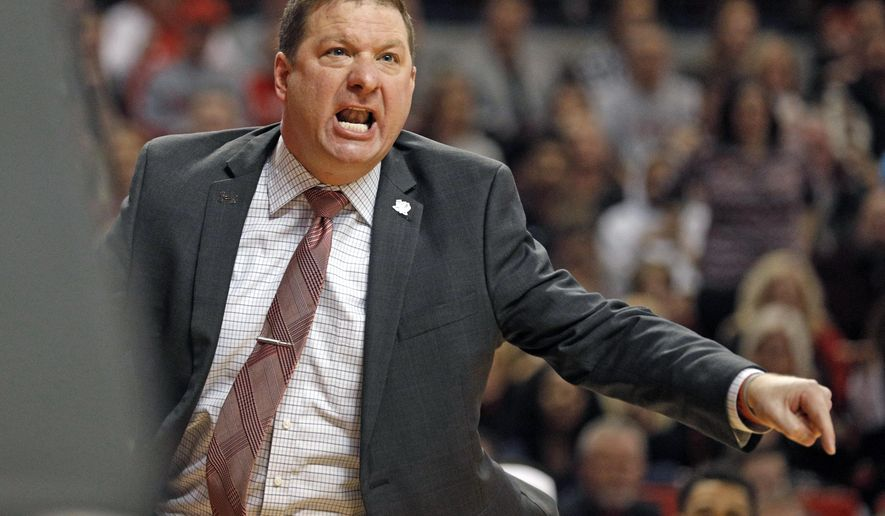 Texas Tech coach Chris Beard yells at the referees after a call during the first half of an NCAA college basketball game against Kansas State, Saturday, Jan. 6, 2018, in Lubbock, Texas. (AP Photo/Brad Tollefson)