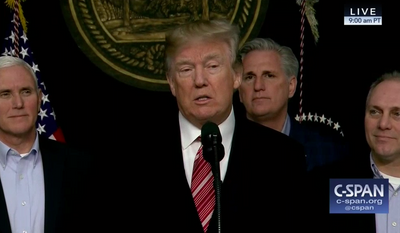 President Trump at a news conference from Camp David on Jan. 6, 2018 (CSPAN.org)