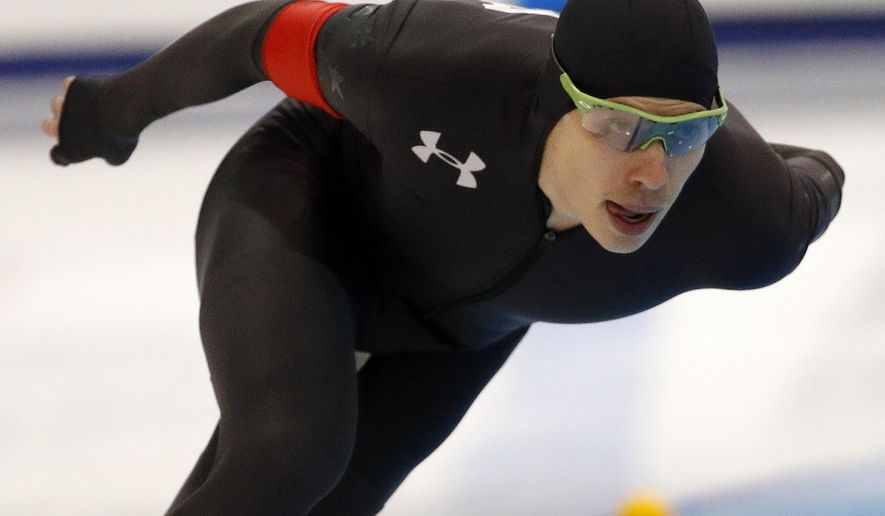 Brian Hansen competes in the men's 1,500 meters during the U.S. Olympic long track speedskating trials, Saturday, Jan. 6, 2018, in Milwaukee. (AP Photo/John Locher)