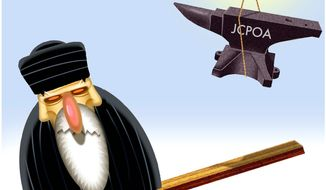 Illustration on aiding freedom in Iran through discontinuing the JCPOA deal by Alexander Hunter/The Washington Times