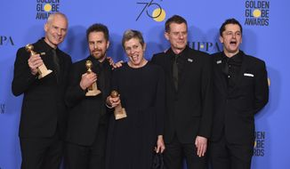 "The cast and crew of ""Three Billboards Outside Ebbing, Missouri"" from left, Martin McDonagh, winner of the award for best screenplay - motion picture, Sam Rockwell, winner the award for best performance by an actor in a supporting role in any motion picture, Frances McDormand, winner of the award for best performance by an actress in a motion picture - drama, and Graham Broadbent and Peter Czernin, pose in the press room with the award for best motion picture - drama at the 75th annual Golden Globe Awards at the Beverly Hilton Hotel on Sunday, Jan. 7, 2018, in Beverly Hills, Calif. (Photo by Jordan Strauss/Invision/AP)"