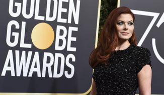 Debra Messing arrives at the 75th annual Golden Globe Awards at the Beverly Hilton Hotel on Sunday, Jan. 7, 2018, in Beverly Hills, Calif. (Photo by Jordan Strauss/Invision/AP)