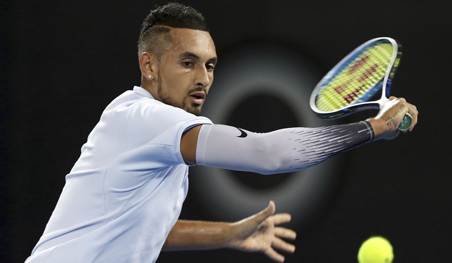 Nick Kyrgios of Australia plays a shot in his final match against Ryan Harrison of the U.S. during the Brisbane International tennis tournament in Brisbane, Australia, Sunday, Jan. 7, 2018. (AP Photo/Tertius Pickard)