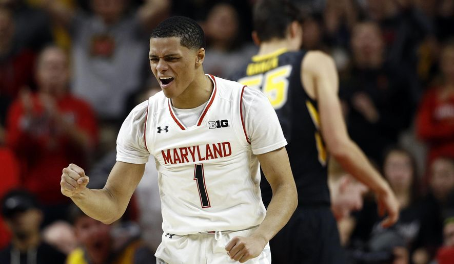 Maryland guard Anthony Cowan reacts after Iowa received a technical foul call in the second half of an NCAA college basketball game in College Park, Md., Sunday, Jan. 7, 2018. Maryland won 91-73. (AP Photo/Patrick Semansky) ** FILE **