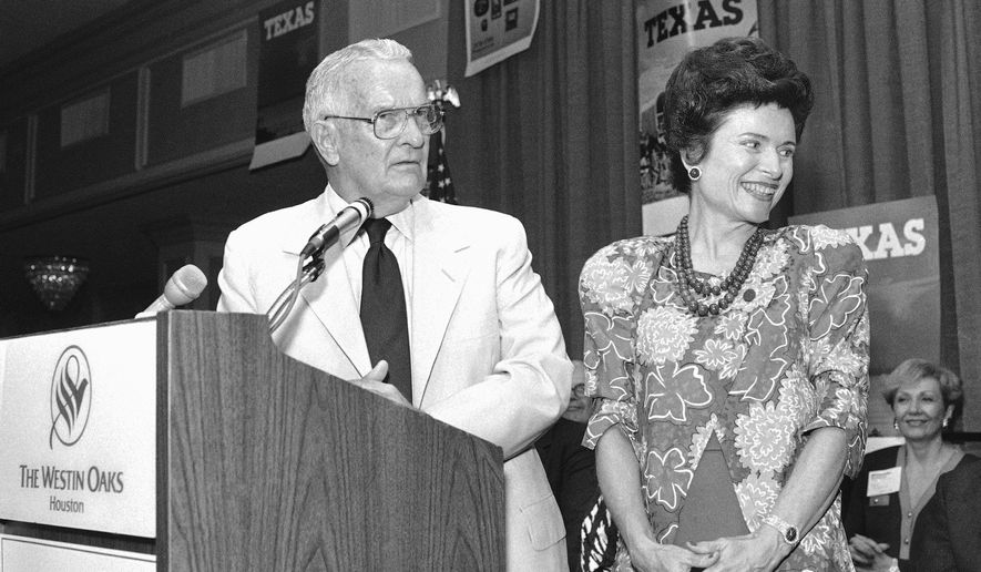 FILE - In this Sept. 3, 1986, file photo, Gubernatorial candidate Bill Clements and his wife Rita attend a rally in Houston. Former Texas first lady Rita Crocker Clements died at age 86. A son-in-law, Jim Moroney, said Clements died Saturday, Jan. 6, 2018, at her home in Dallas. (AP Photo/Rick McFarland, File)