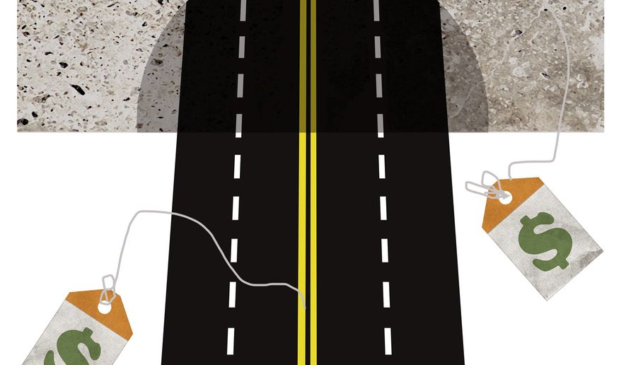 Illustration on Trump's infrastructure budget challenges by Alexander Hunter/The Washington Times