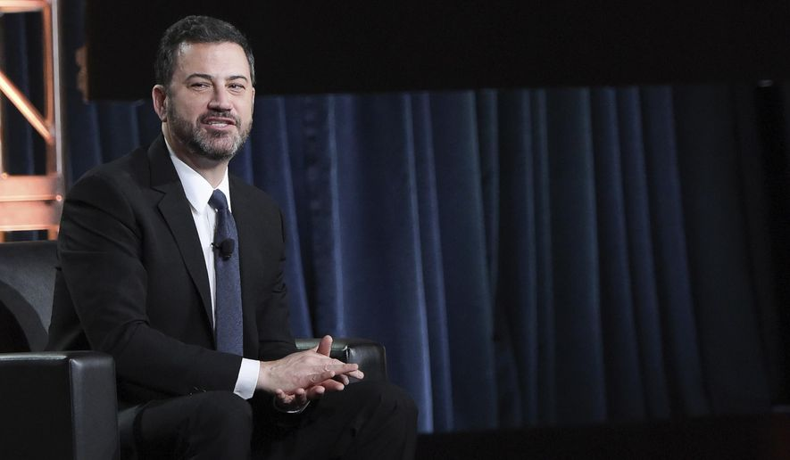 "Jimmy Kimmel participates in the ""Jimmy Kimmel Live and 90th Oscars"" panel during the Disney/ABC Television Critics Association Winter Press Tour on Monday, Jan. 8, 2018, in Pasadena, Calif. (Photo by Richard Shotwell/Invision/AP)"