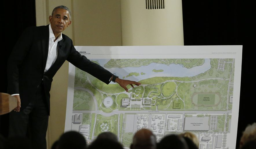 Former President Barack Obama speaks at a community event on the Presidential Center at the South Shore Cultural Center, Wednesday, May 3, 2017, in Chicago. The Obama Foundation unveiled plans for the former president's lakefront presidential center, showcasing renderings and a model at an event where Obama and former first lady Michelle Obama were expected to give more details. (AP Photo/Nam Y. Huh) ** FILE **