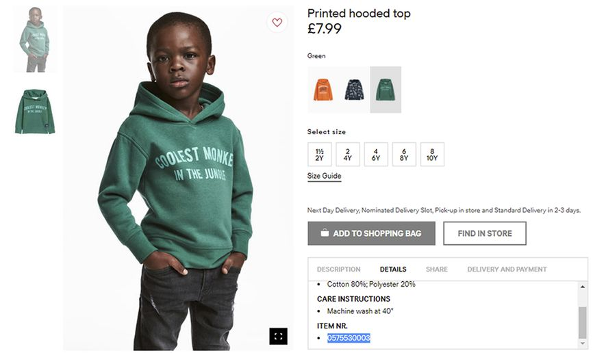 An undated photo of an advert for a hoodie by H&M. Clothing giant H&M has apologized Monday, Jan. 8, 2017, and removed an advertising image of a black model in a sweatshirt with the words Coolest monkey in the jungle. The brand removed the image, but kept in place other designs modeled by white children. (H&M via AP)