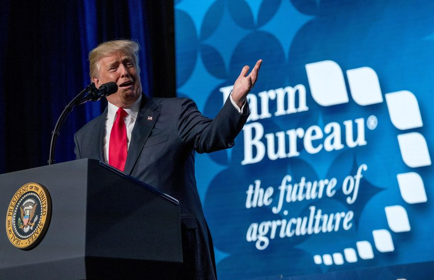 President Donald Trump speaks at the American Farm Bureau Federation's Annual Convention at the Gaylord Opryland Resort and Convention Center, Monday, Jan. 8, 2018, in Nashville, Tenn. (AP Photo/Andrew Harnik)